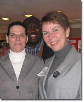 Linda B., Representative Jeff Hayden and Simpson Housing Executive Director Julie Manworren